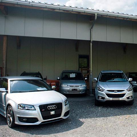 Wagen von ISUZU vor der Garage